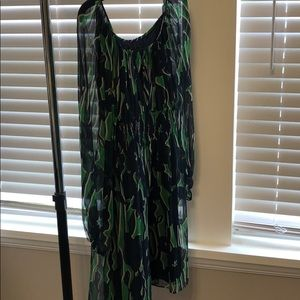BCBG Maxazria silk green and blue .